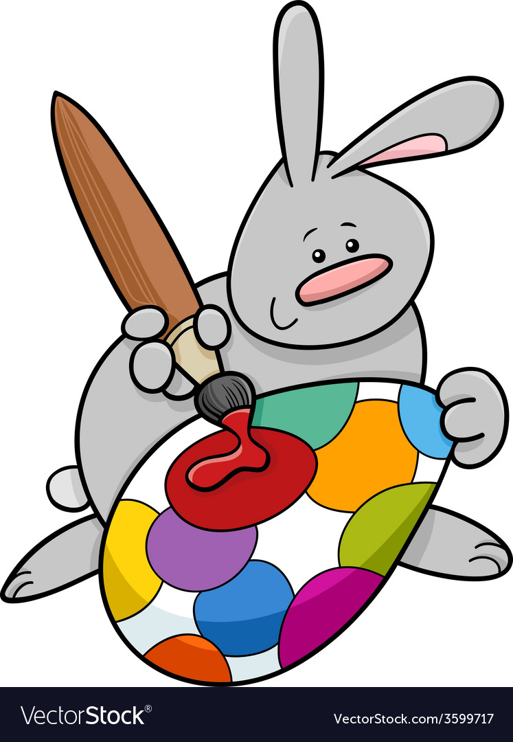 Easter bunny painting egg cartoon vector | Price: 1 Credit (USD $1)