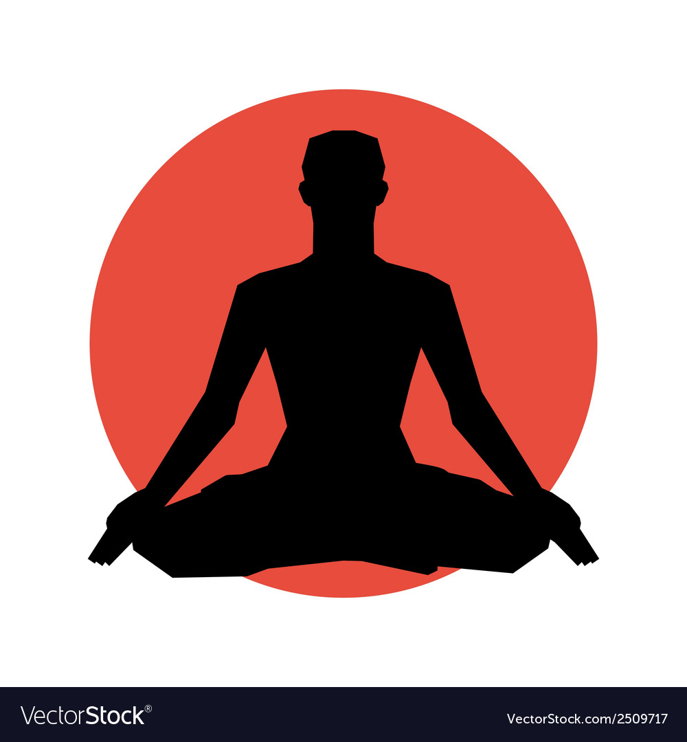 Human silhouette in yoga pose vector | Price: 1 Credit (USD $1)