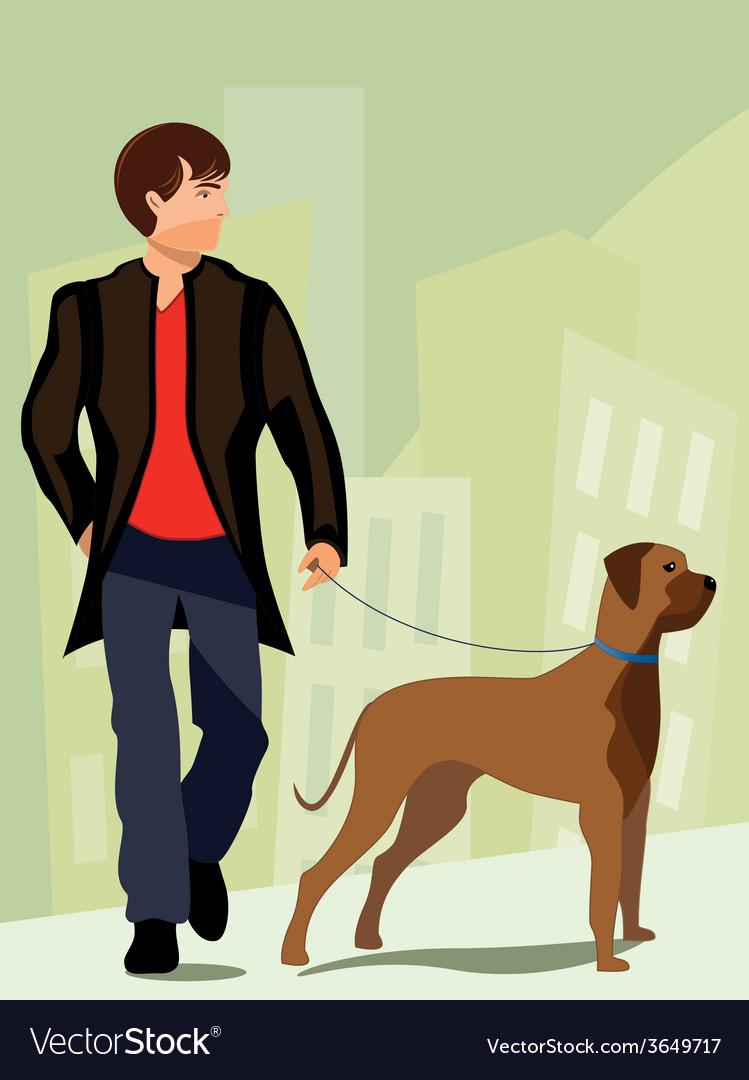 Man-walking-his-dog vector | Price: 1 Credit (USD $1)