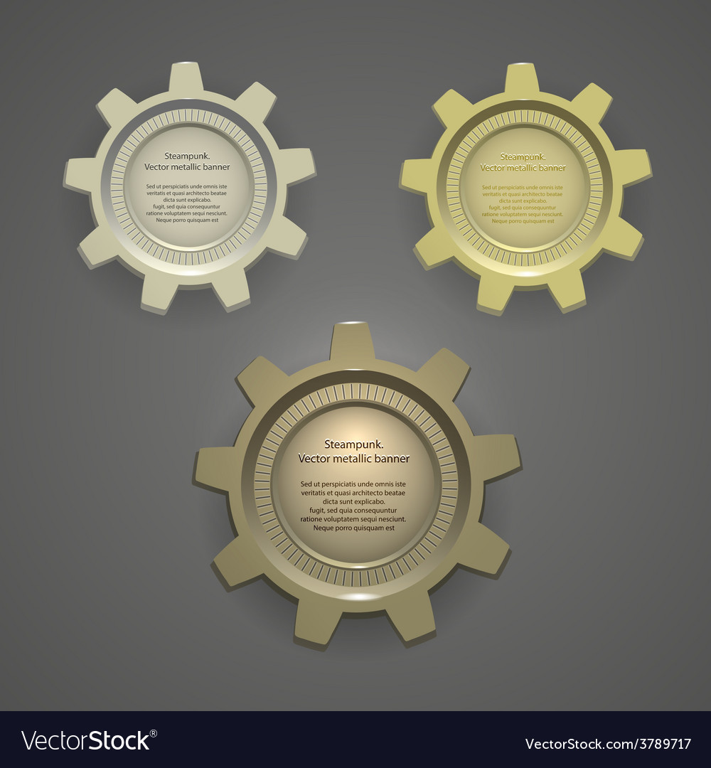 Metal banners logos tags steampunk vector | Price: 3 Credit (USD $3)