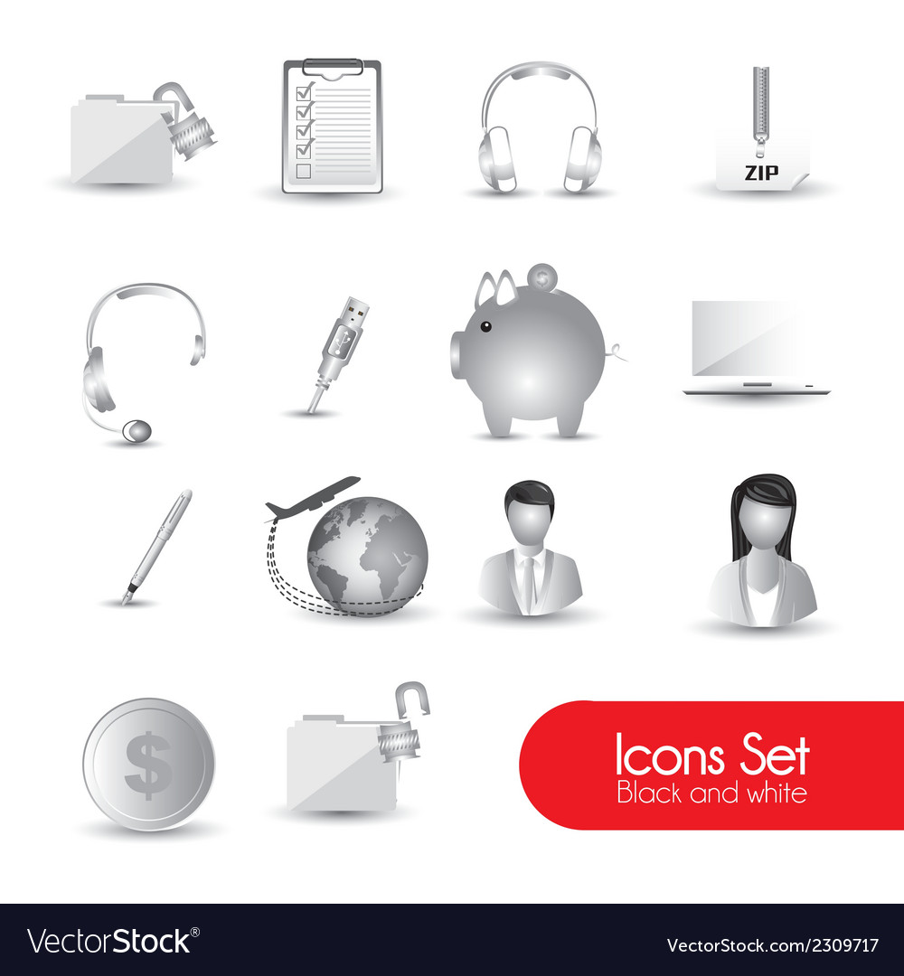 Set of gray icons vector | Price: 1 Credit (USD $1)