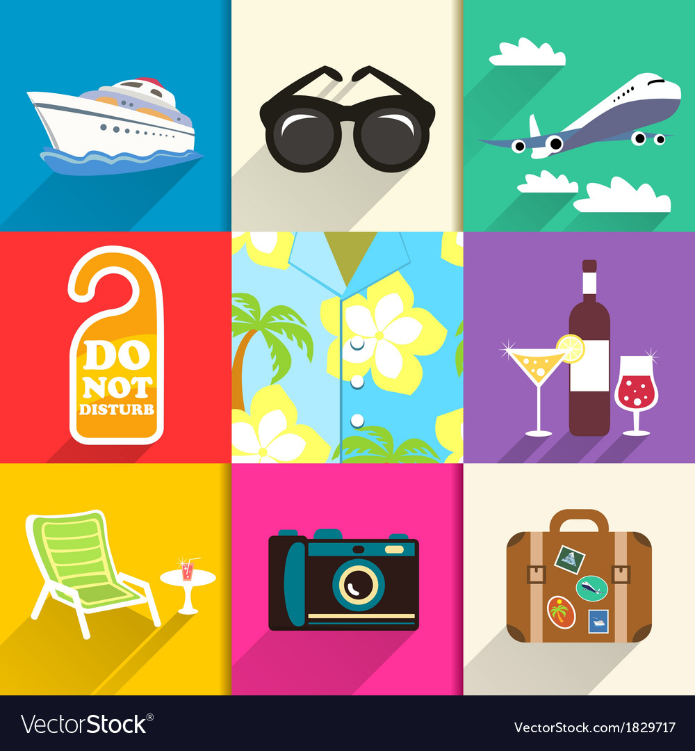 Travel and vacation icons set vector | Price: 1 Credit (USD $1)