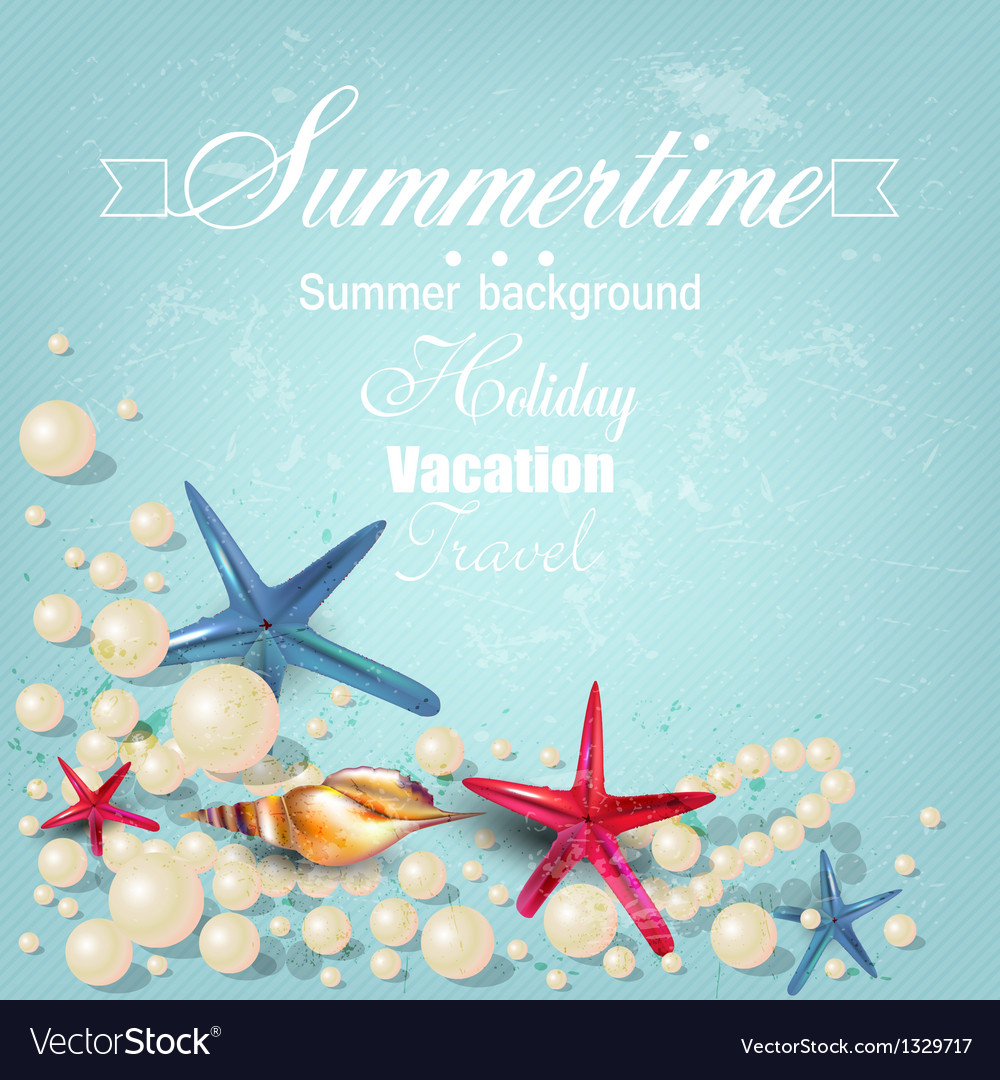 Vintage holiday banner with pearls and starfishes vector | Price: 1 Credit (USD $1)