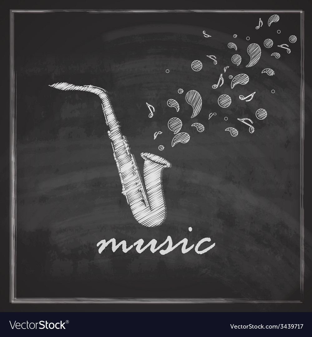 Vintage with the saxophone on blackboard vector | Price: 1 Credit (USD $1)