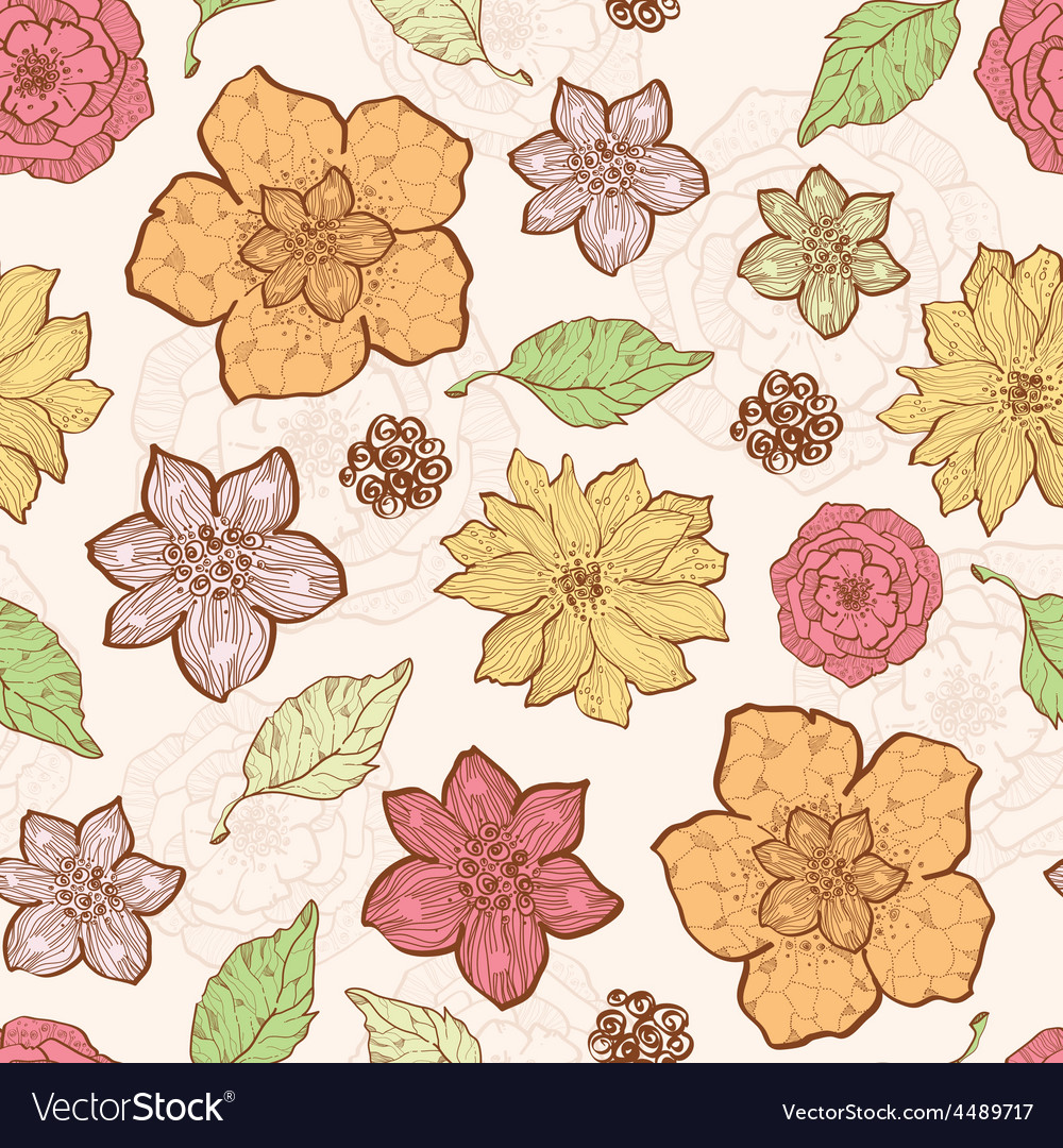 Warm fall lineart flowers seamless pattern vector | Price: 1 Credit (USD $1)
