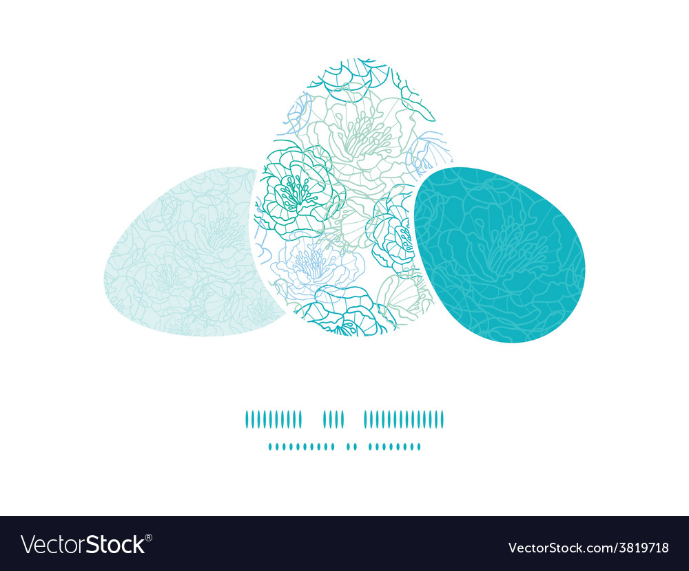 Blue line art flowers three matching easter vector | Price: 1 Credit (USD $1)