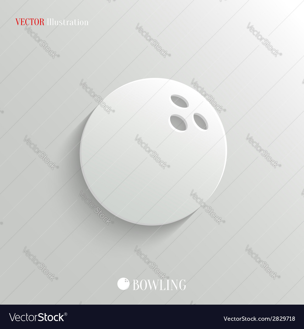 Bowling icon - white app button vector | Price: 1 Credit (USD $1)
