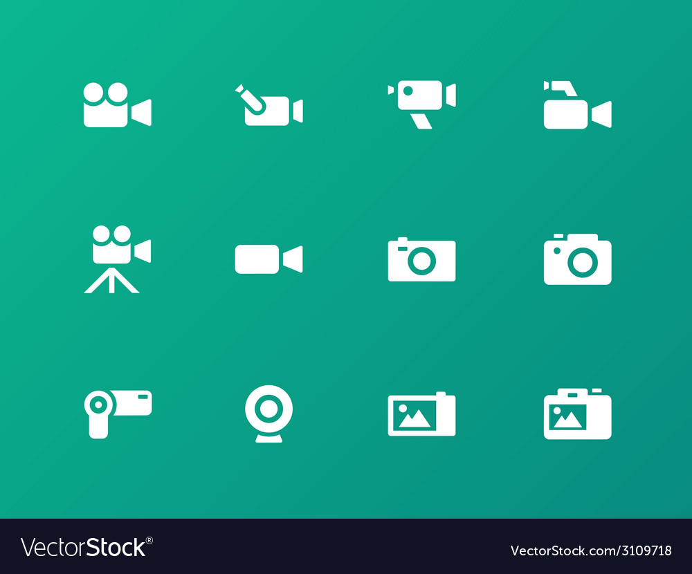 Camera icons on green background vector | Price: 1 Credit (USD $1)