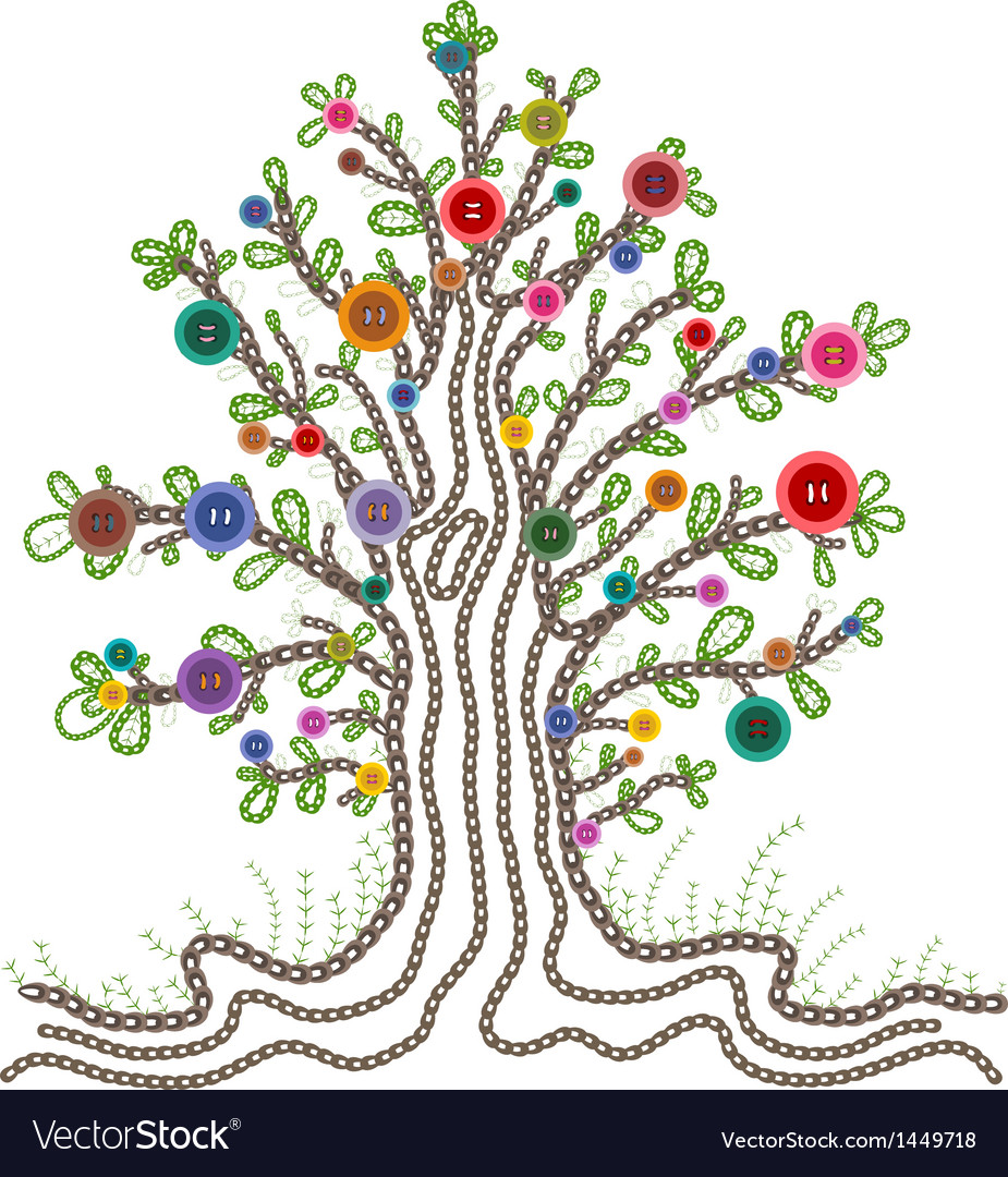 Colorful embroidered tree with buttons fruits vector | Price: 1 Credit (USD $1)
