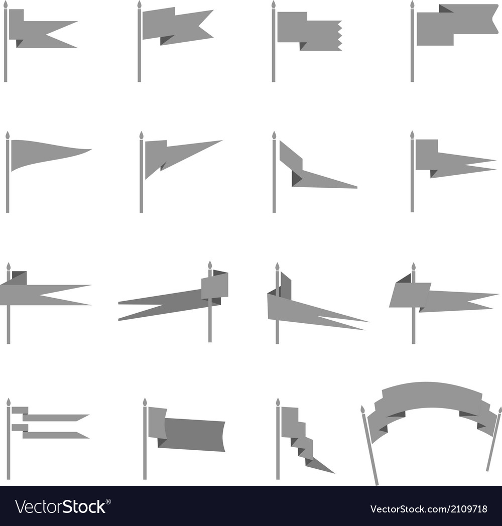 Different medieval flag silhouettes collection vector | Price: 1 Credit (USD $1)