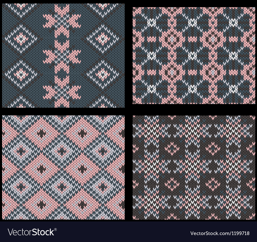 Four seamless knitted swatches with folk ornament vector | Price: 1 Credit (USD $1)