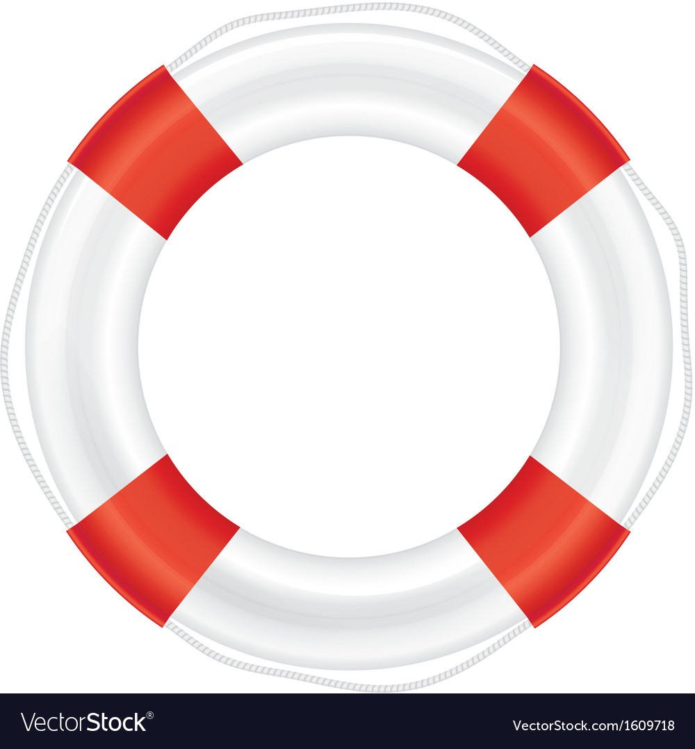 Lifebuoy with red stripes and rope salvation vector | Price: 1 Credit (USD $1)