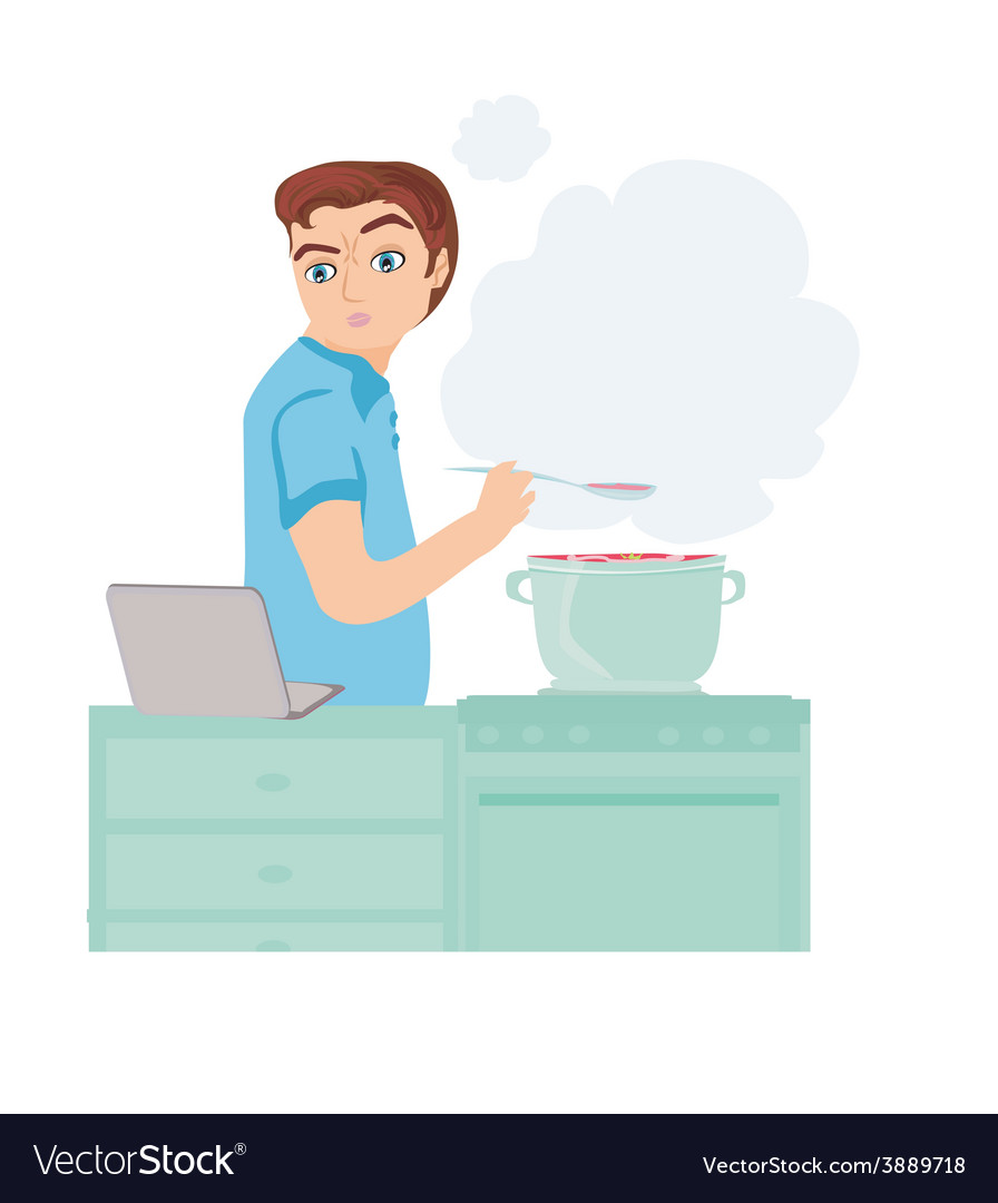 Man looking in laptop during cooking soup at home vector | Price: 1 Credit (USD $1)