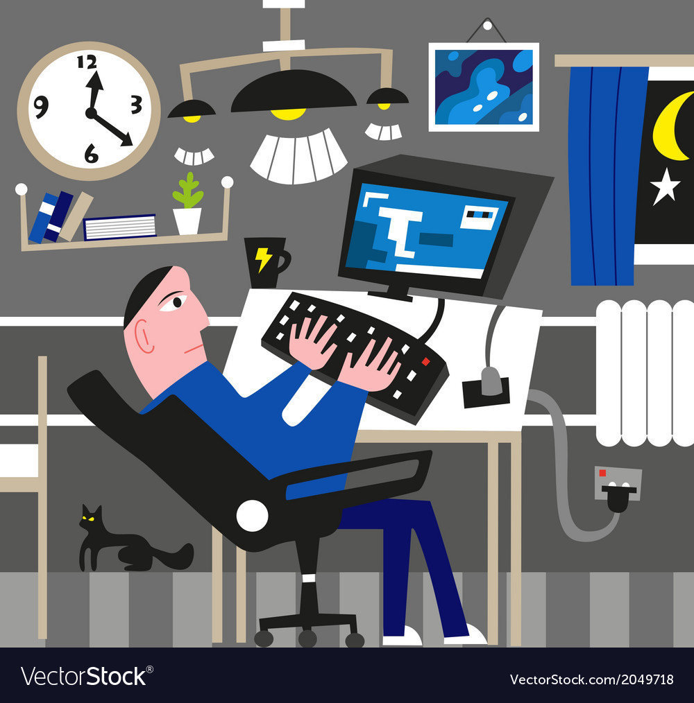 Man working at the computer vector | Price: 1 Credit (USD $1)