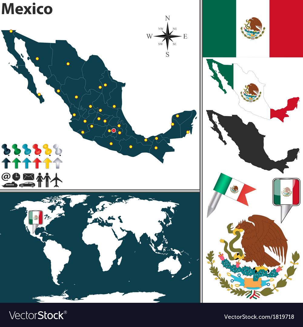 Mexico map world vector