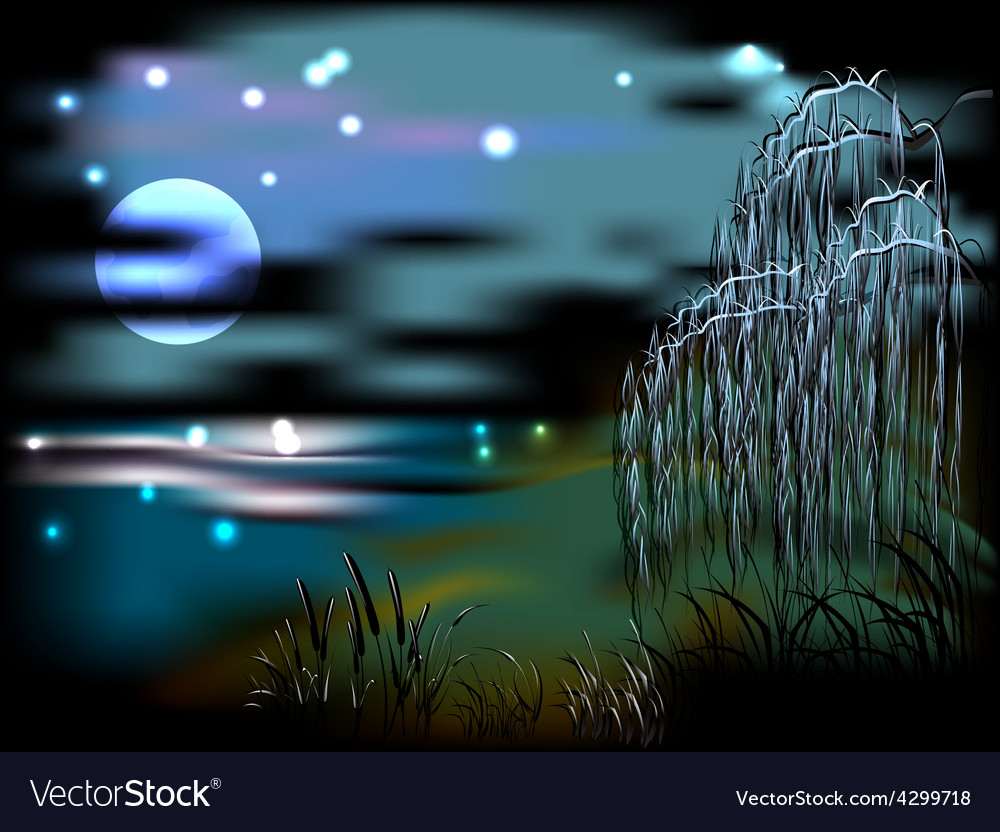 Night landscape with lake and reeds in the light vector | Price: 1 Credit (USD $1)