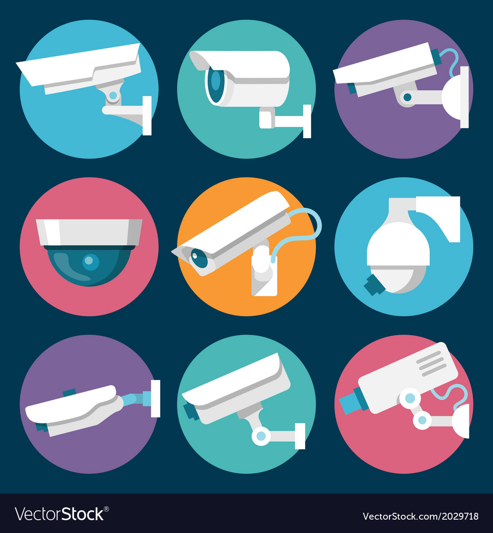 Security cameras icons set vector | Price: 1 Credit (USD $1)