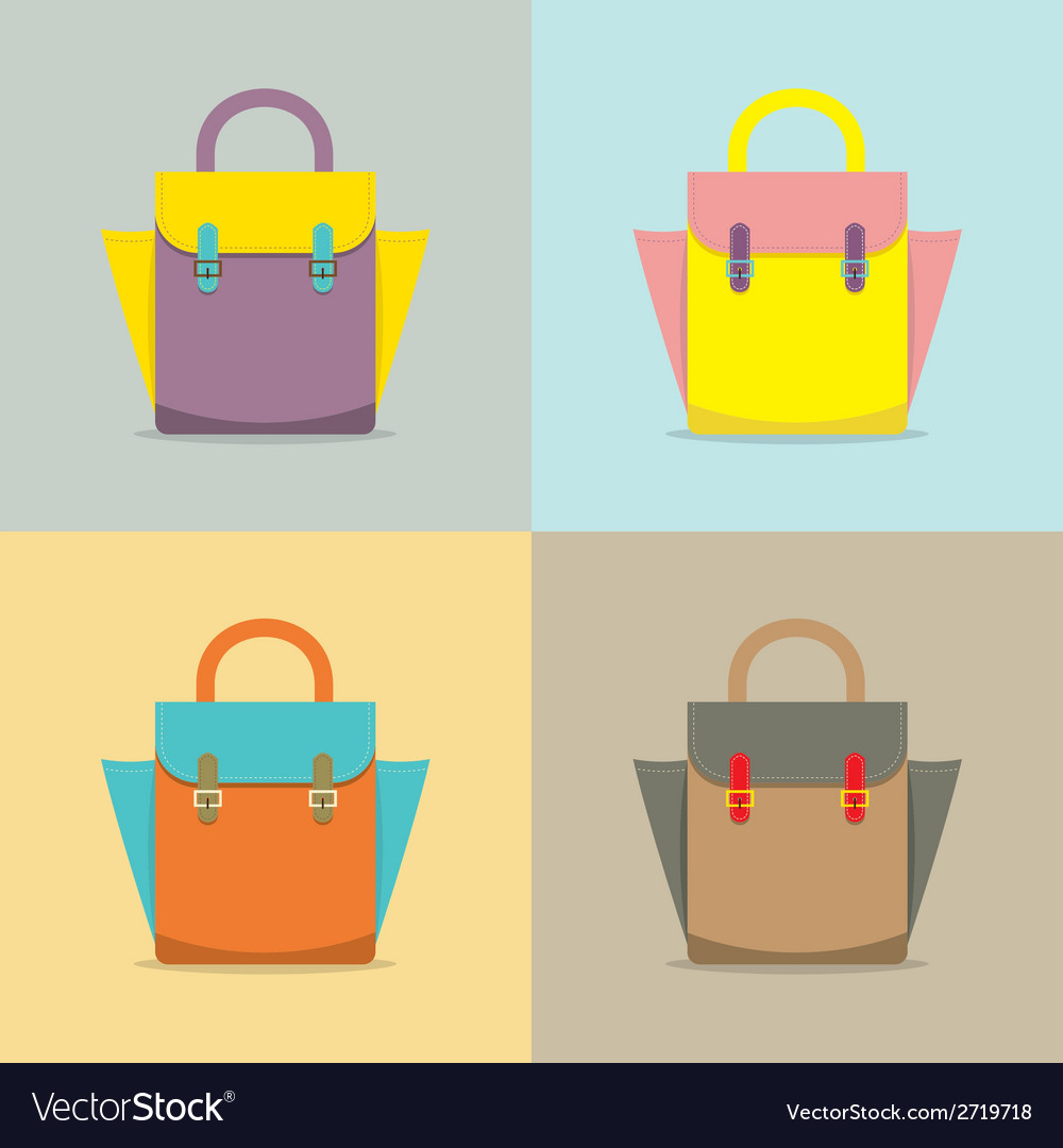 Set of colorful women bag on white background vector | Price: 1 Credit (USD $1)