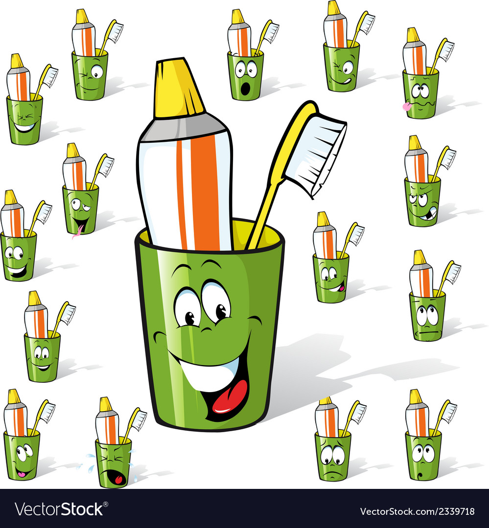 Toothbrush and toothpaste in a cup - cartoon with vector | Price: 1 Credit (USD $1)