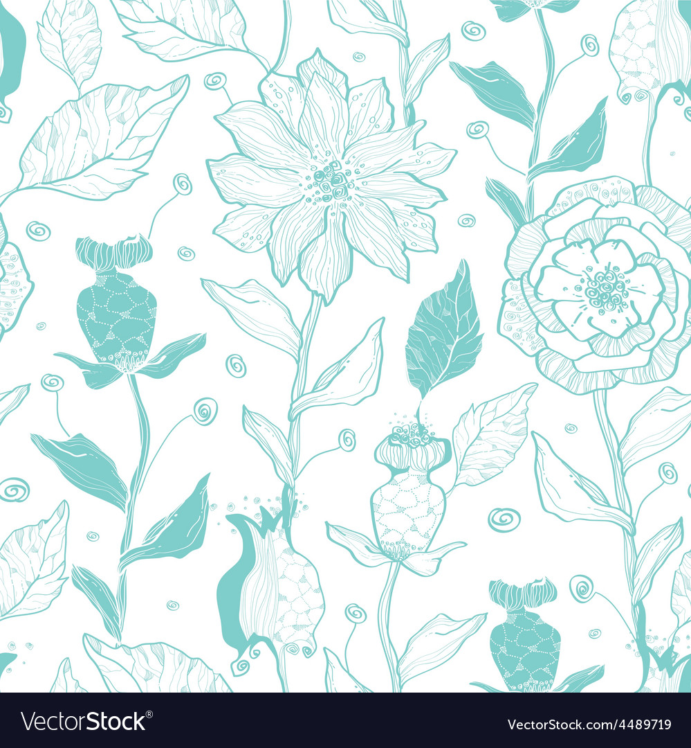 Aqua lineart flowers seamless pattern vector | Price: 1 Credit (USD $1)