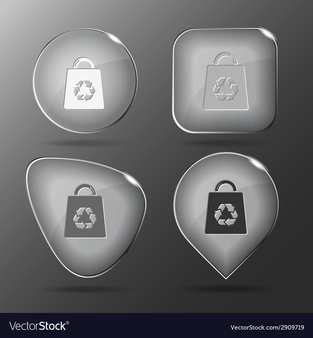 Bag with recycle symbol glass buttons vector | Price: 1 Credit (USD $1)