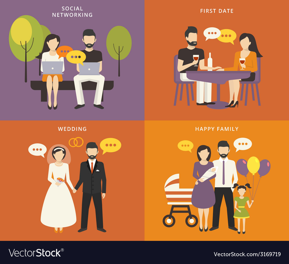 Family with children concept flat icons set vector | Price: 1 Credit (USD $1)