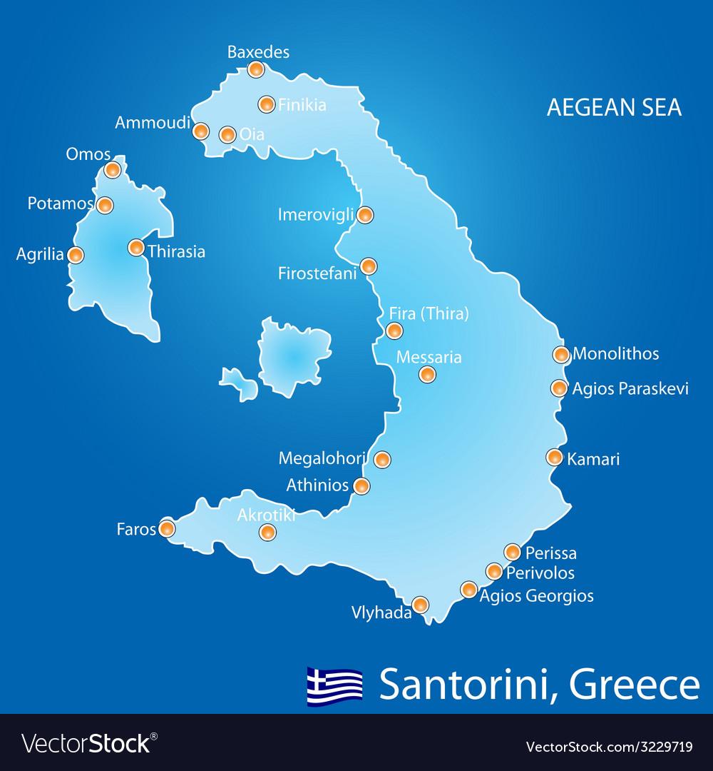 Island of santorini in greece map vector | Price: 1 Credit (USD $1)