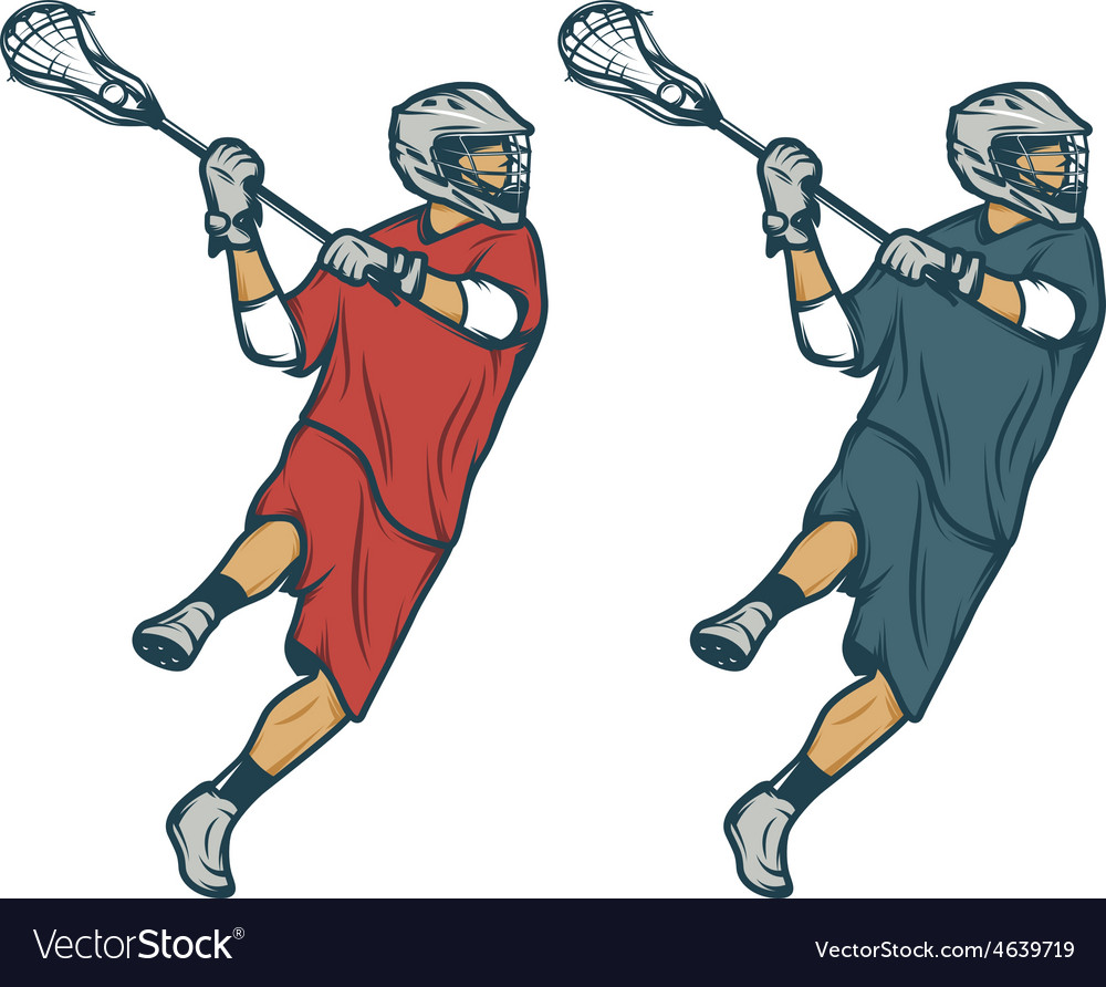 Lacrosse player in shooting pose isolated vector | Price: 1 Credit (USD $1)