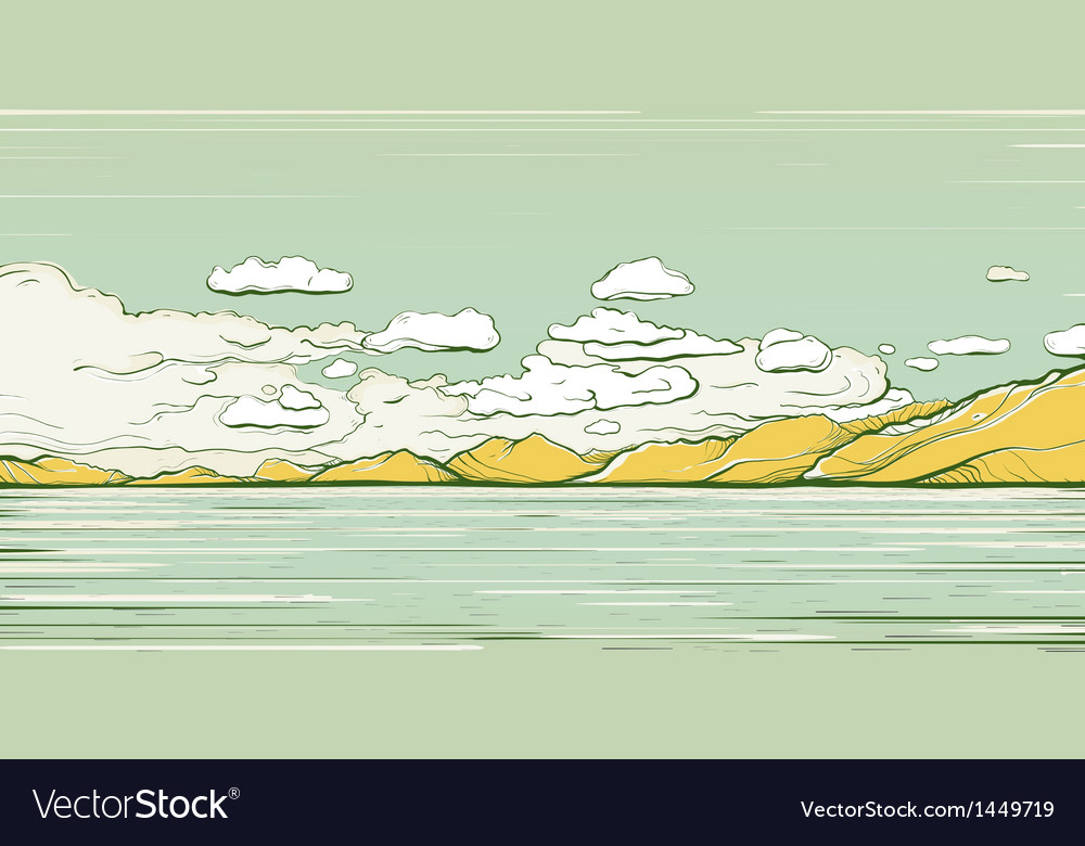 Landscape background with clouds and mountains vector | Price: 1 Credit (USD $1)