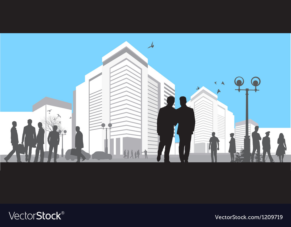 Many silhouettes on blue sky background vector   Price: 1 Credit (USD $1)