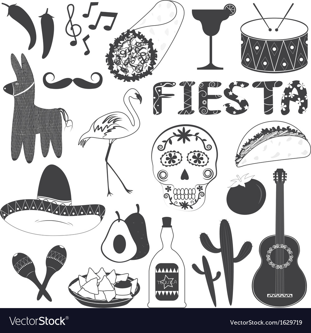 Mexico party icons set vector | Price: 1 Credit (USD $1)