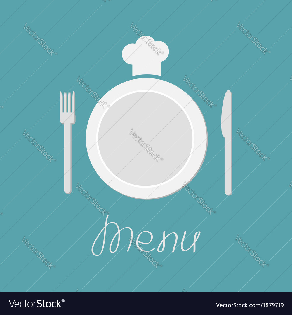 Plate fork knife and chefs hat menu card flat vector | Price: 1 Credit (USD $1)