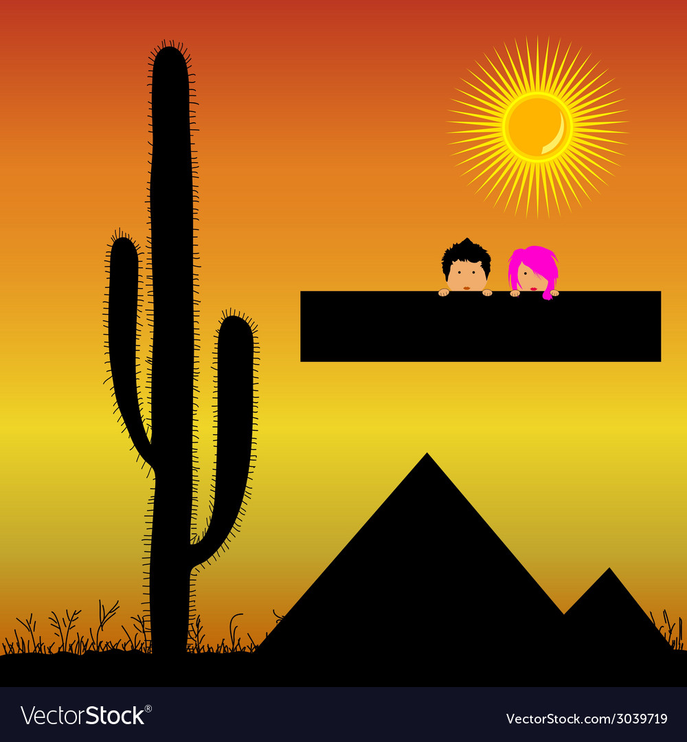 Pyramids in the desert and kids vector | Price: 1 Credit (USD $1)