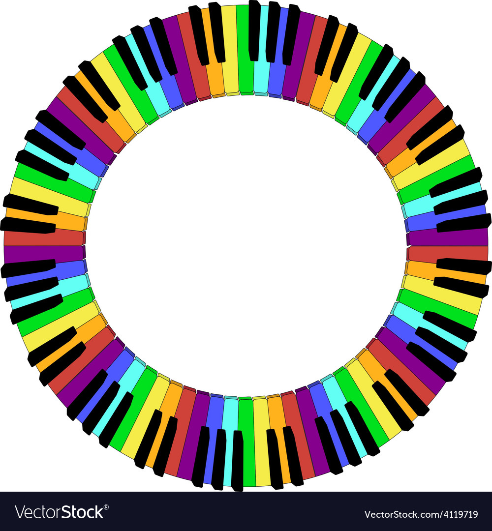 Round colored piano keyboard frame vector | Price: 1 Credit (USD $1)