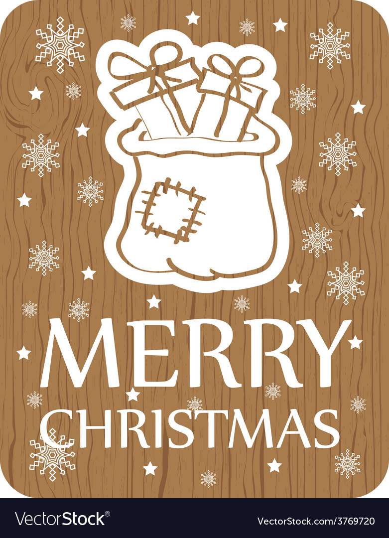 Christmas card with santa bag on wood background vector | Price: 1 Credit (USD $1)
