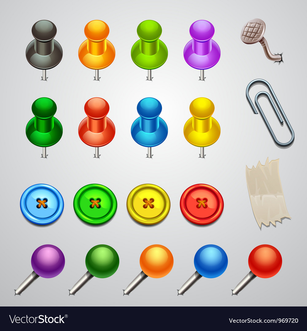 Colorful push pin vector | Price: 1 Credit (USD $1)