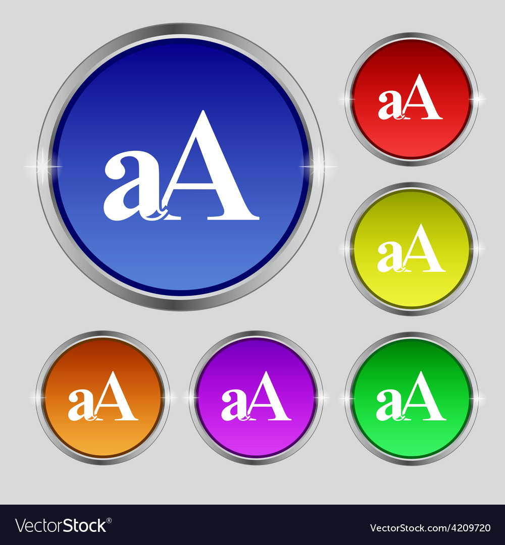 Enlarge font aa icon sign round symbol on bright vector | Price: 1 Credit (USD $1)