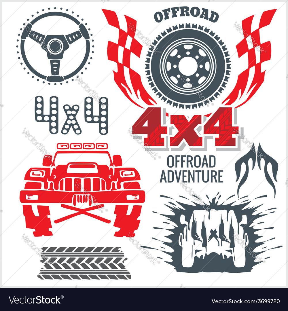 Off-road elements and emblem - set vector | Price: 1 Credit (USD $1)