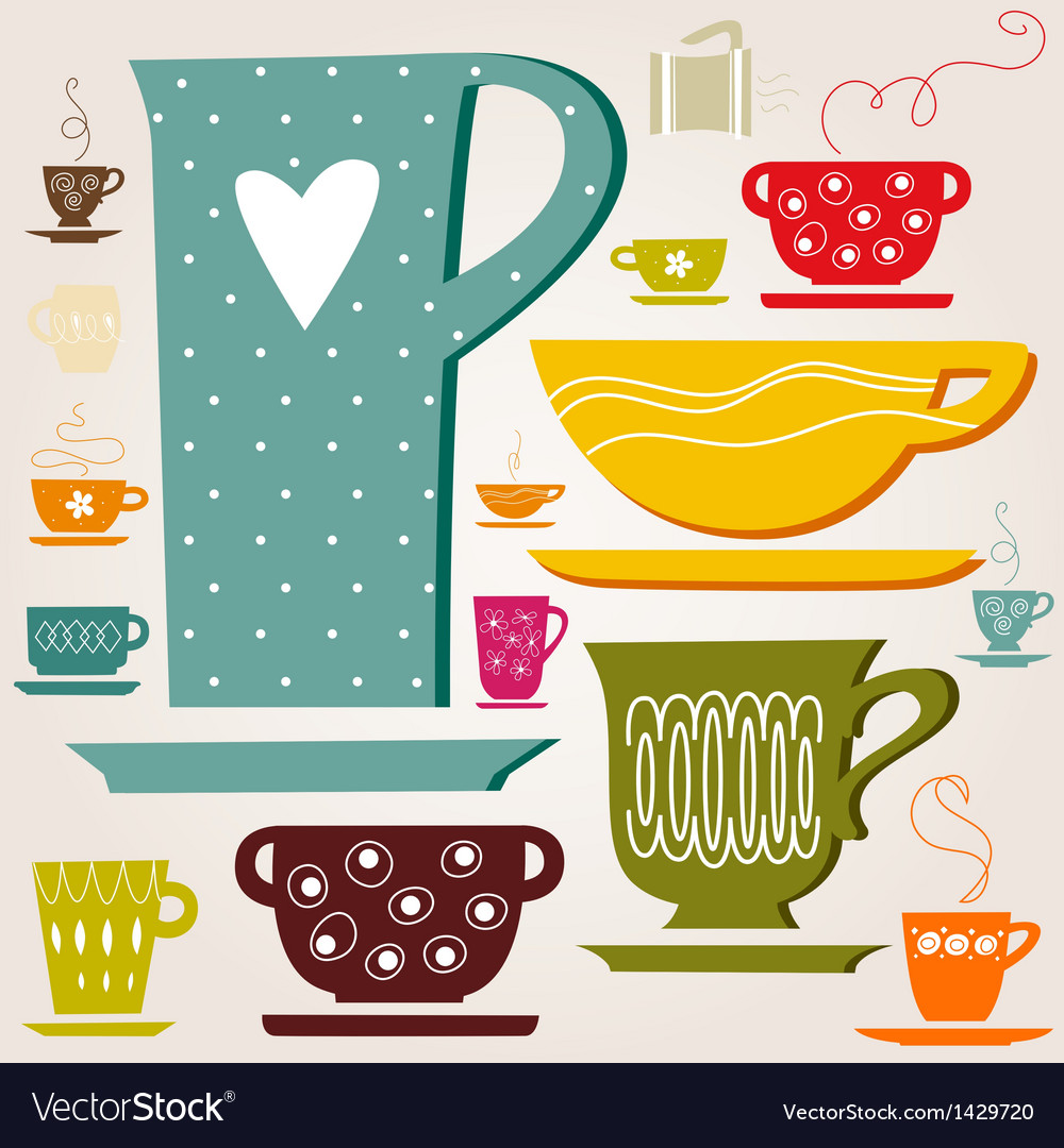 Set of color cup vector | Price: 1 Credit (USD $1)