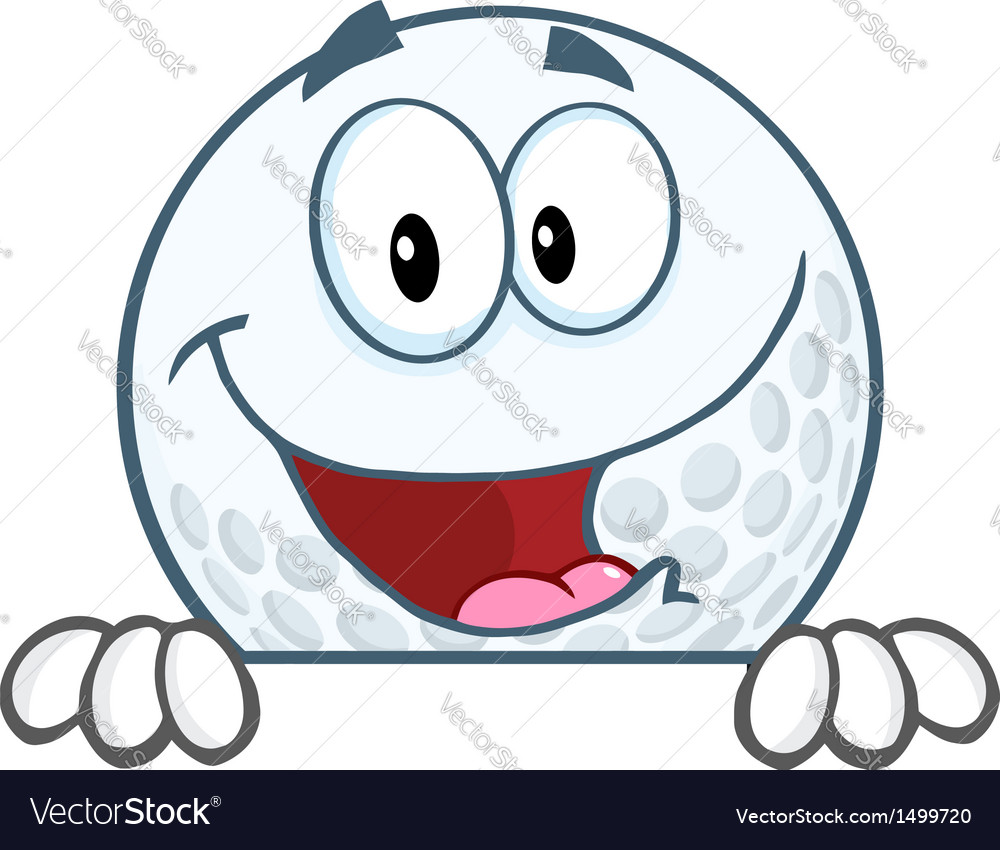 Smiling golf ball character over sign vector   Price: 1 Credit (USD $1)