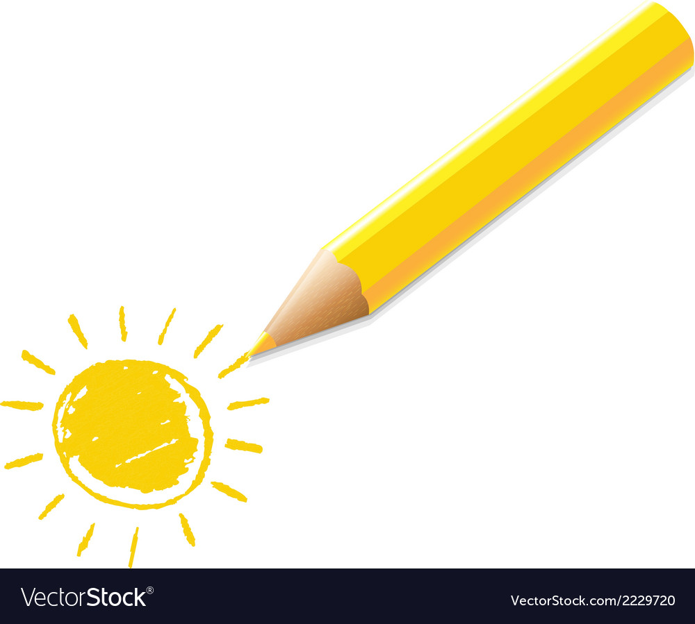 Yellow pencil with drawing vector | Price: 1 Credit (USD $1)