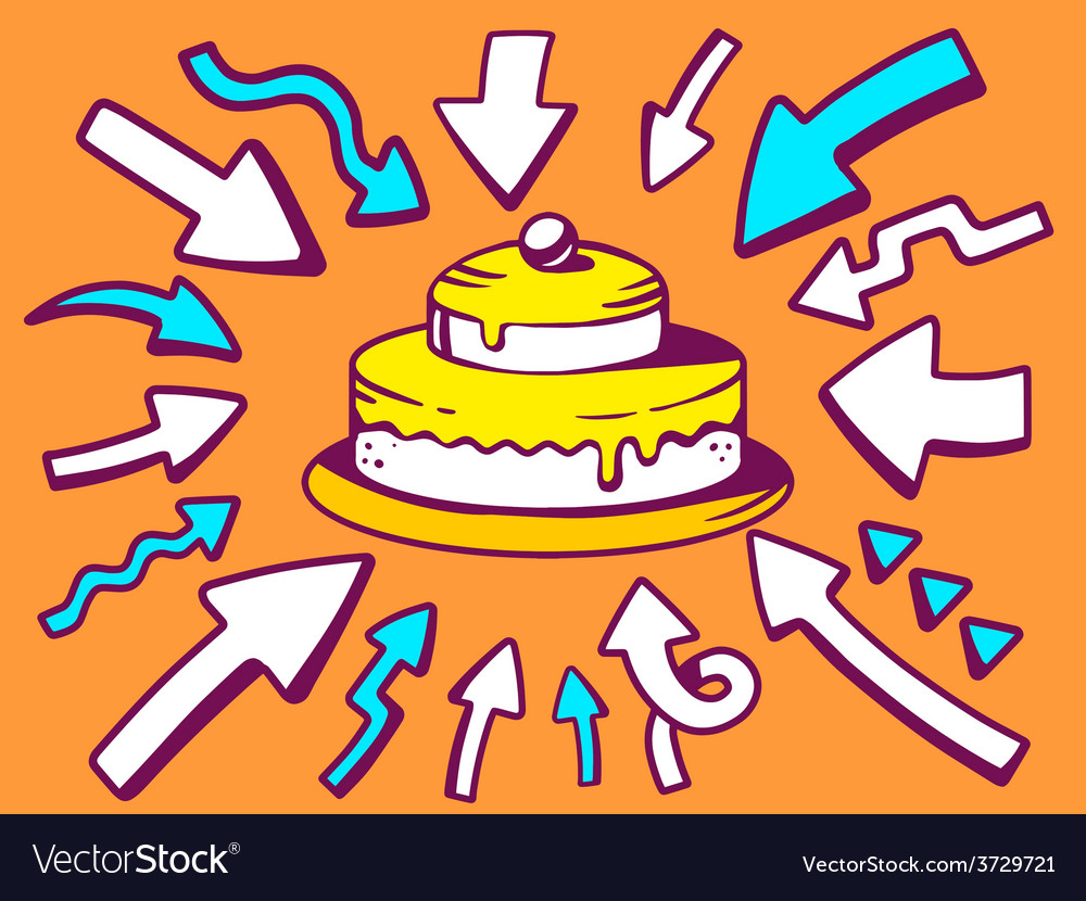 Arrows point to icon of home cake on oran vector | Price: 1 Credit (USD $1)