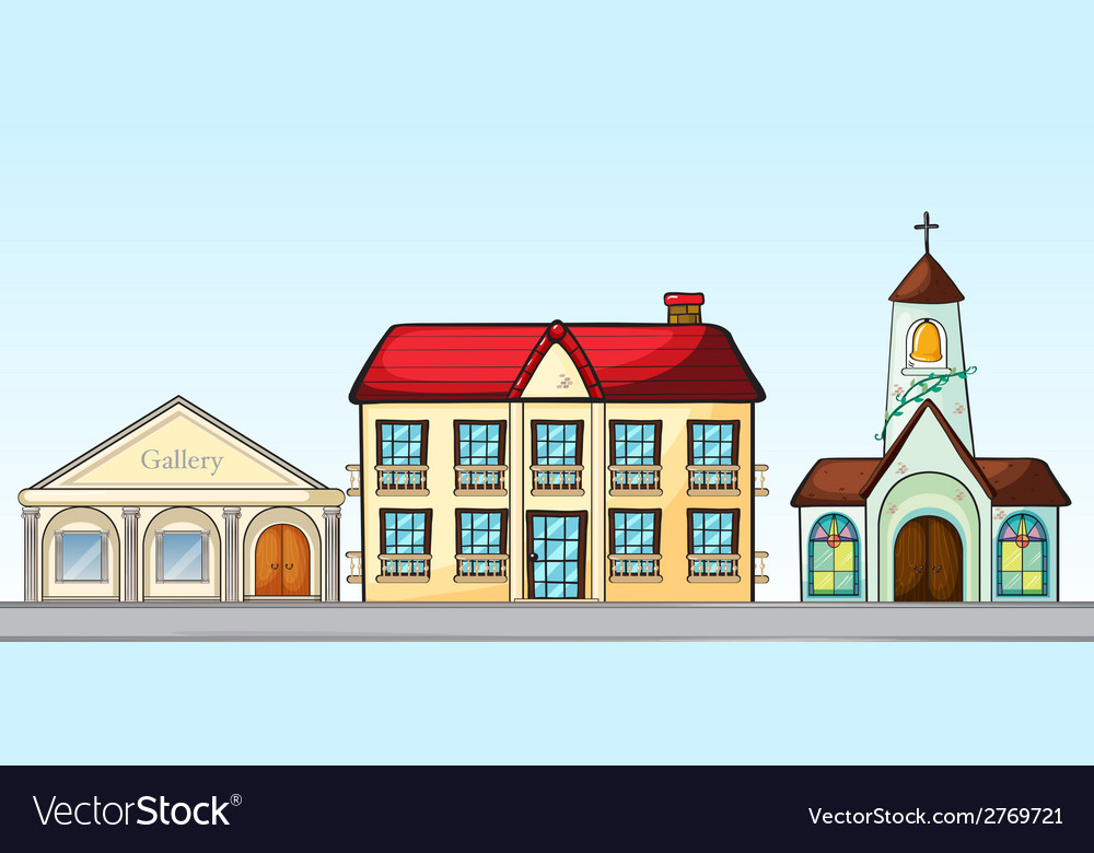 Buildings on street vector | Price: 1 Credit (USD $1)