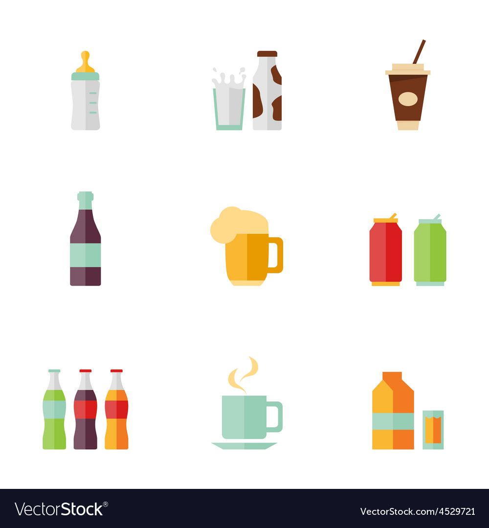 Flat icons drink set vector | Price: 1 Credit (USD $1)
