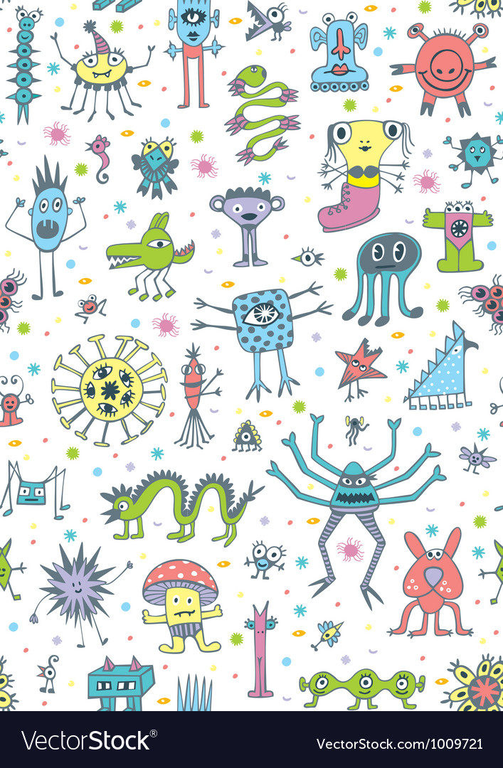 Funny monsters seamless patterns vector | Price: 1 Credit (USD $1)