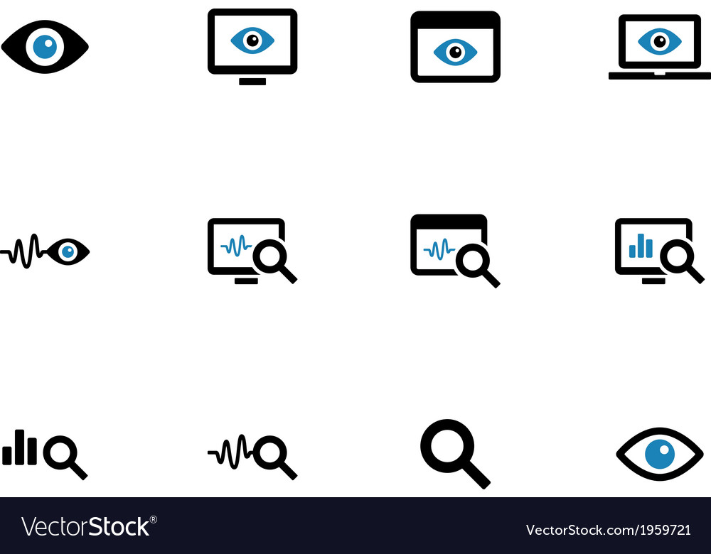 Monitoring duotone icons on white background vector   Price: 1 Credit (USD $1)