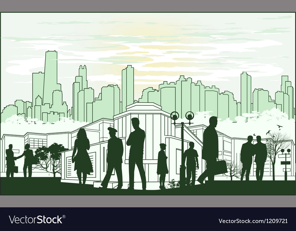 Outline green silhouette of the city with crowd of vector | Price: 1 Credit (USD $1)