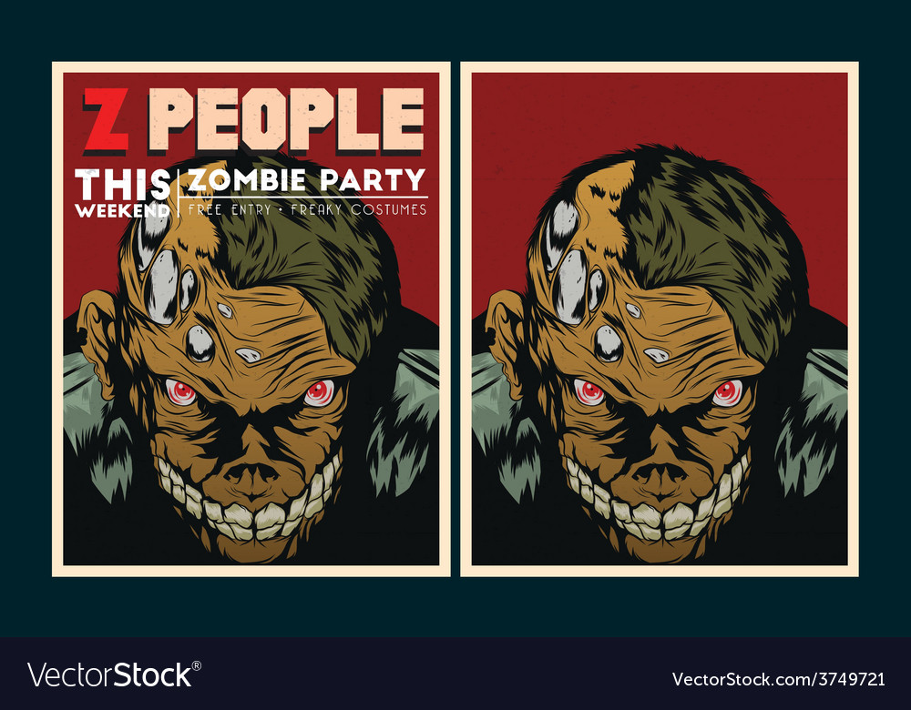 Zombie party invitation vector | Price: 3 Credit (USD $3)