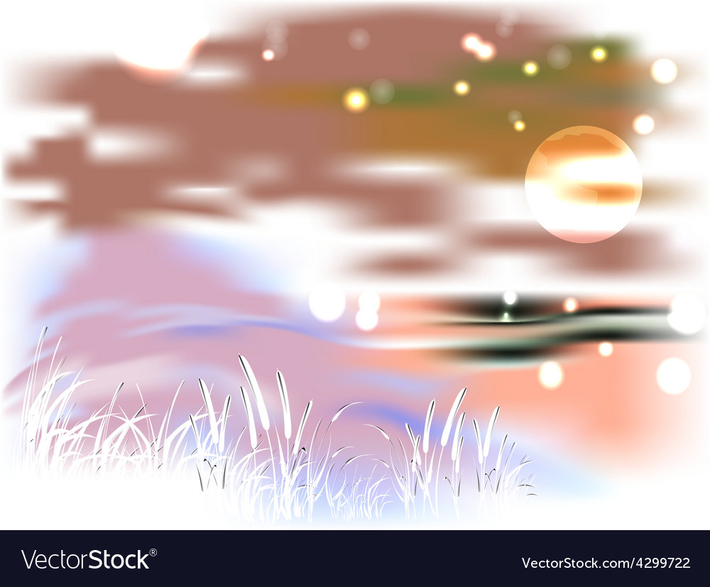 Bright landscape with lake and reeds in the light vector | Price: 1 Credit (USD $1)