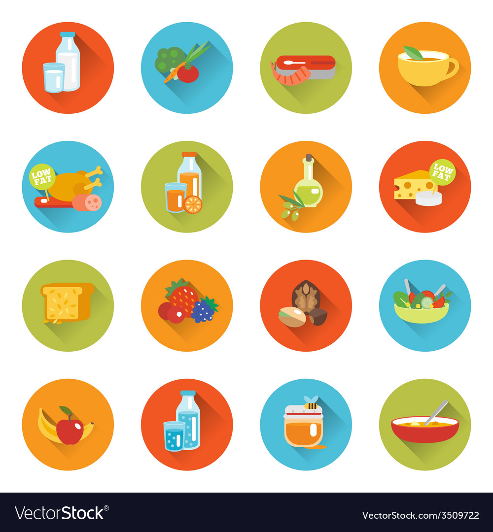 Healthy eating flat icons vector | Price: 1 Credit (USD $1)